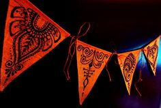 Henna Mehndi Burlap Triangle Pennants Prayer Flags Bunting, set of 4, blue www.facebook.com/behennaed tags: Home & Living Spirituality & Religion Meditation henna mehndi prayer bunting pennant India Morocco wedding party tribal yoga camping mandala baby peace Tibet zen