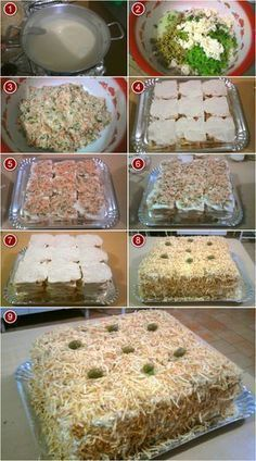 Sandwich Cake, Tea Sandwiches, Tasty, Yummy Food, Portuguese Recipes, Home Food, Creative Food, I Love Food, Biscuits