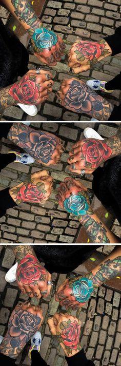 Matching Rose Hand Tattoo Ideas for Bestfriends, Sisters for 4, Friends - Floral Flower Watercolor Wrist Tatouage - Ideas Del Tatuaje - www.MyBodiArt.com