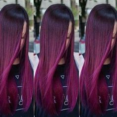 33 trendy ombre hair color ideas of 2019 - Hairstyles Trends Fuschia Hair, Hair Color Purple, New Hair Colors, Cool Hair Color, Purple Ombre, Violet Ombre, Turquoise Hair, Neon Hair, Violet Hair