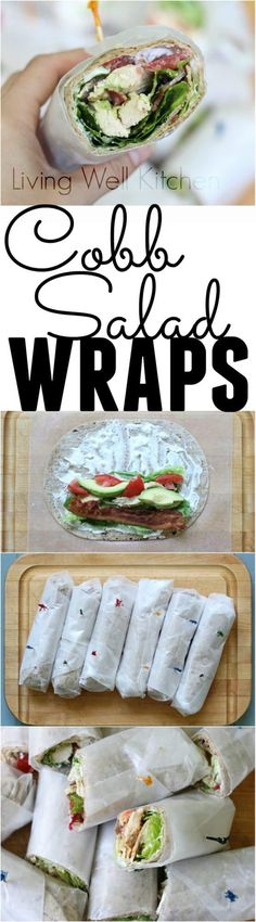 Cobb Salad Wraps from Meme // Living Well Kitchen have all the goodies of a Cobb Salad but are neatly wrapped for portability and easy eating. These are great for a make-ahead, filling tasty lunch. Healthy Snacks, Healthy Eating, Healthy Recipes, Healthy Wraps, Cobb Salad, Lunch Recipes, Cooking Recipes, Salad Recipes, Salat Wraps