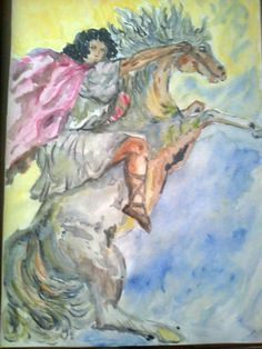 لوحة . طموح الى الأبطال.  من اعمالي رسم بالمائي .