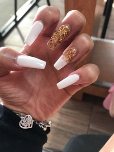 In search for some nail designs and ideas for your nails? Listed here is our set of must-try coffin acrylic nails for cool women. Cute Acrylic Nail Designs, Cute Acrylic Nails, Holiday Acrylic Nails, Gold Glitter Nails, Hair And Nails, My Nails, Dope Nails, Birthday Nails, Card Birthday