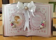 Made by Karen Leonard - Open book card using tattered lace essential book die Kirigami, Tattered Lace Cards, Baby Girl Cards, Shabby Chic Cards, Card Book, Shaped Cards, 3d Cards, Marianne Design, Heartfelt Creations