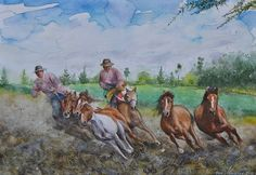 Mauri Virtanen - Horses in action, watercolor
