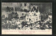 old postcard: AK Augsburg, Aus dem Festzug bei der Jahrhundertfeier der Einverleibung der Stadt Augsburg in das Königreich Bayern
