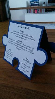 Hochzeit Menükarte Puzzle blau