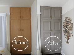 In Phase 2 of my Closet Makeover see how I embellished my closet doors with a moody dark paint color and gold painted hardware. & Kitchen Cabinet Makeover: Metal Inserts | Radiators Screens and Random