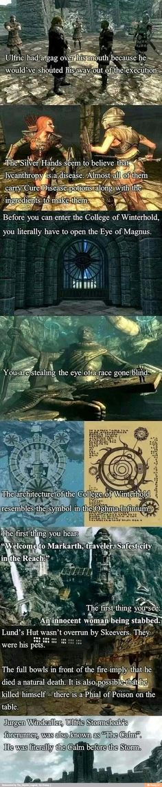 """Skyrim"" trivia; I don't know if they're real/confirmed but that's cool! And the part about Markarth made me laugh so hard..."