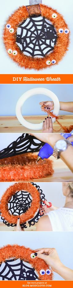 #DIY this funky Halloween wreath, and let all your Trick-or-Treaters know you're in the spooky spirit!