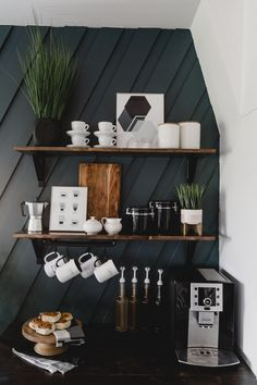 A modern DIY Coffee station for the home! Love the decor and styling of this contemporary coffee station! You can… The post A Modern DIY Coffee Station [for the Home] appeared first on Love Create Celebrate. Coffee Bars In Kitchen, Coffee Bar Home, Home Coffee Stations, Coffee Bar Ideas, Coffee Kitchen Decor, Bar In Kitchen, Office Coffee Station, Kitchen Ideas, Coffee Bar Built In