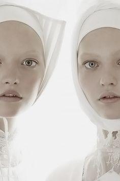 Vogue Italia (Mar. 2006) - Organized Robots by Steven Meisel  with Gemma Ward and Sasha Pivovarova.