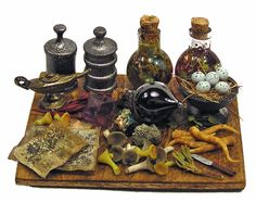 Dollhouse Miniature Potion/ Apothecary Board - Handmade 1:12 scale OOAK