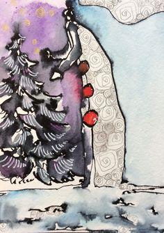 Le passeur de temps  By N2L     #art #peinture #illustration #couleurs #aquarelle #hiver