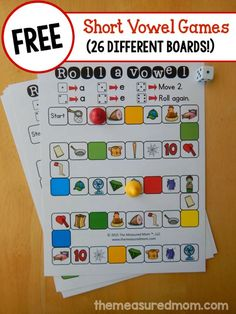 Roll a short vowel games - The Measured Mom