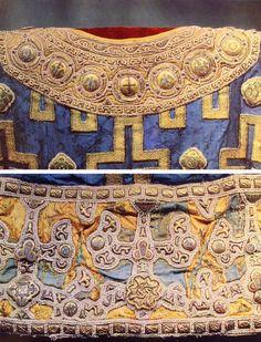 Sakkos of Metropolitan Alexei, 1364, Byzantine  Collar in top photo, Hem in bottom photo
