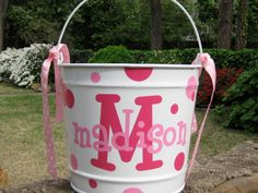 Personalized Easter Basket - Easter Bucket - Custom Easter Basket - 10 quart WHITE on Etsy, $30.00