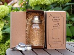 Mason Jar Cocktail Shaker, via Kickstarter. This looks very cool, love the twist top for a cocktail shaker.
