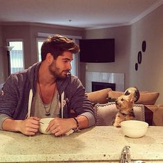 Hot Guys Newsletter The Men With Dogs Edition - Nick Bateman Nick Bateman, Long Haired Men, By Any Means Necessary, Man And Dog, Hommes Sexy, Hot Boys, Mans Best Friend, Gorgeous Men, Beautiful Guys