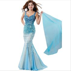 Thin Shoulder Straps Crystal Mermaid Prom Evening Dress