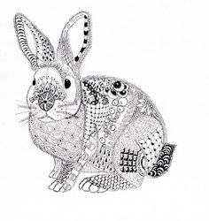 Efie goes Zentangle: Ben Kwok Rabbit Bunny Coloring Pages, Easter Colouring, Colouring Pics, Adult Coloring Pages, Coloring Books, Illustration Main, Zentangle Patterns, Zentangles, Art Drawings
