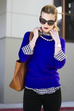 black jeans gingham shirt cobalt blue sweater