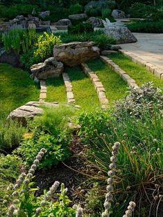 jardin avec des parterres d'herbes aromatiques les deux côtés des marches d'escalier de pavés et gazon