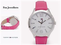 💞 Pinky Lady from Tommy Hilfiger 💞 Women's quartz watch with round, stainless steel (40 mm). Tommy Hilfiger logo inside the dial. White mother of pearl dial background. Pink leather strap (18 mm). Water resistant to 3 ATM (30 meters). See the full collection from Tommy Hilfiger at Fox Jewellers! www.foxjewellers.ie | (041) 983 8357 Tommy Hilfiger Women, Pink Leather, Quartz Watch, Fox, Pearl, Stainless Steel, Jewels, Watches, Lady