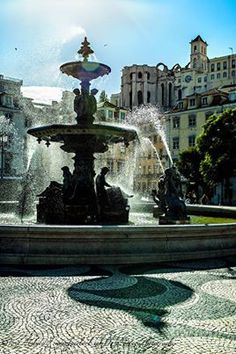 Fonte do Rossio, Lisboa - Portugal. *One day, we will stand next to that fountain and feel the cool spray of water on our upturned faces. Visit Portugal, Spain And Portugal, Camino Portuguese, Places Around The World, Around The Worlds, Best Places To Vacation, Portuguese Culture, Adventure Awaits, Wonders Of The World