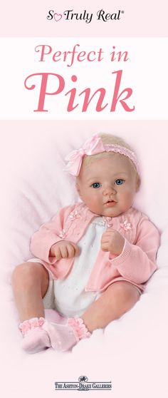 This lifelike baby doll by Master Doll Artist Marissa May is dressed to impress in a hand-finished, richly detailed ensemble that includes a white knit one-piece and long-sleeved pink cardigan. 100% satisfaction guaranteed with free return shipping up to 365 days - Shop Now!