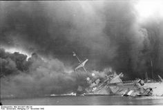 French cruiser Marseillaise afire and sinking, Toulon, France, 27 Nov 1942  Source German Federal Archive