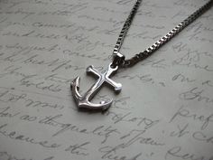 Beautiful men's anchor necklace made of a stainless steel Anchor pendant on a solid x stainless steel box chain (pendant is x Arrow Necklace, Stainless Steel, Men, Boutique, Etsy, Jewelry, Necklace Ideas, Anchor, Pendant