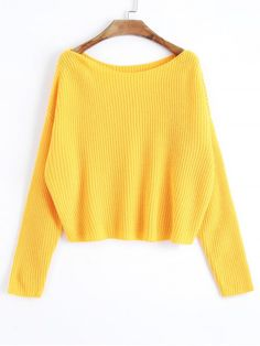 Oversized One Shoulder Pullover Sweater - YELLOW ONE SIZE