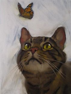"""Daily Paintworks - """"Cat and Butterfly II original ..."""" by Diane Hoeptner"""