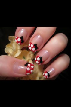 Minney mouse nails - I think it would be cute to do this on one nail on each hand with the rest of the nails red french ***dinsey cruise!