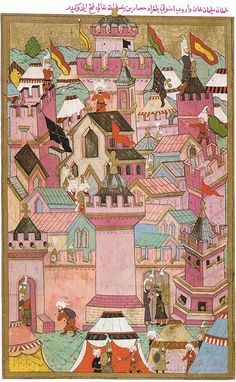 The taking of the fortress of Székesfehérvár by the Ottomans in century. Hüner-nāme, Topkapi-Serail-Museum, Hazine f. Turkish Art, Ottoman Empire, Japanese Prints, Medieval Art, Indian Paintings, Cartography, Islamic Art, Traditional Art, Painting & Drawing