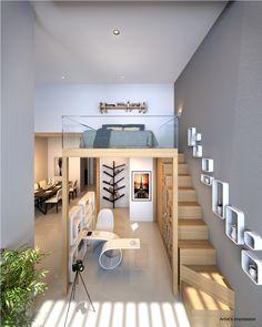Tiny House Loft, Modern Tiny House, Tiny House Design, Room Design Bedroom, Home Room Design, Loft Design, Apartment Interior Design, Tiny House Community, Loft Interiors
