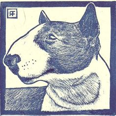 Colored Bull Terrier Linocut by Annie Fitt on Etsy