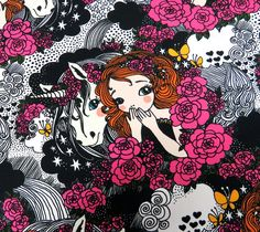 Secret (multicolour) by Leena Renko Stoff Design, Print Fabrics, Prints, Printing On Fabric, Print Design, Minnie Mouse, Kids Outfits, Disney Characters, Fictional Characters
