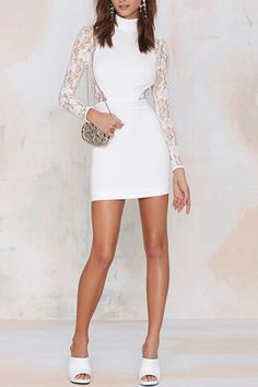 Graceful Turtle Neck Lace Paneled Dress