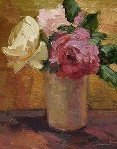 """Three Roses"" - Original Fine Art for Sale - © Kathryn Townsend"