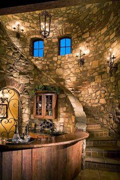 Eldorado Stone, Castle House, Castle Wall, Castle Rock, Tuscan Style, Staircase Design, Staircase Ideas, Stairways, My Dream Home