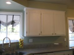Kitchen after remodel.  Some lemons in a jar to brighten it up.