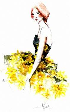 Fashion Illustration with yellow skirt