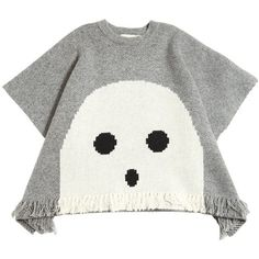 Stella Mccartney Kids Kids-girls Ghost Doubled Knit Wool Cape ($145) ❤ liked on Polyvore featuring grey