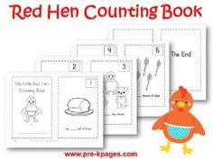 Printable Little Red Hen Counting Book {1-5} for preschool or kindergarten