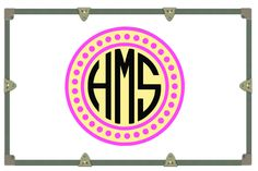 Yeti Decal/ Camp Trunk Decals/ Vinyl Sticker/ Pink Yellow Black Circle Dot Monogram/Monogram Decal by RusticGraceCo on Etsy