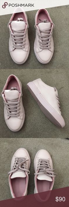 Leather low top sneaker. Size 7. Leather low top sneaker in dusty pink. Made of Italian leather. Similar style to common projects sneaker. BRAND NEW.  Never worn. Size US 7 (EUR 37.5). No shoe box. Frank & Oak Shoes Sneakers