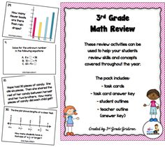 3rd Grade Math Review FREEBIE! - perfect for test prep or end of the year exams (includes task cards, student outline, and answer key)