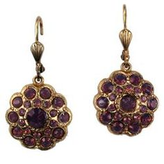 Round Swarovski Crystal Gold Earrings in Purple by La Vie Parisienne